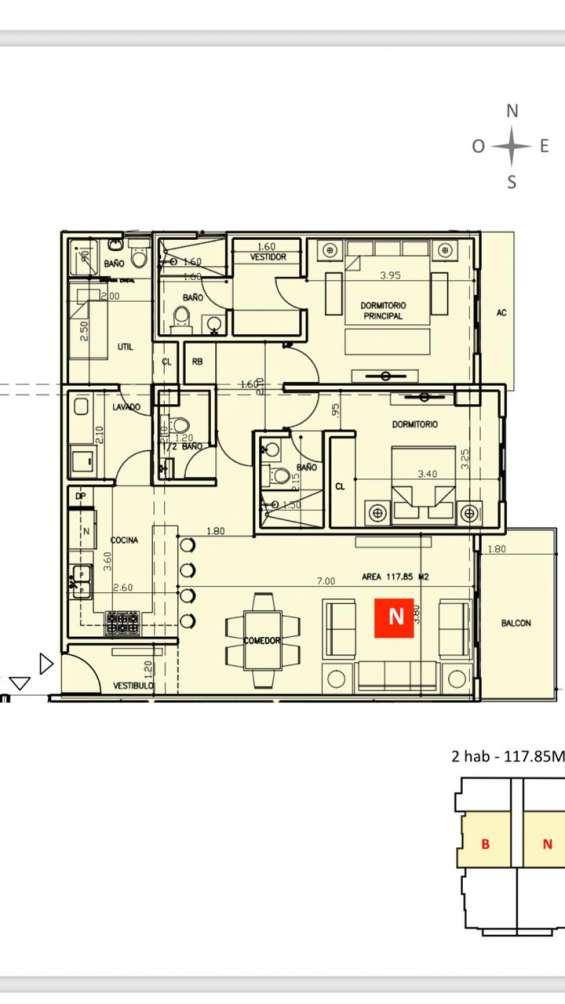 Apartamento en bella vista, 1 habitacion, venta, santo domingo
